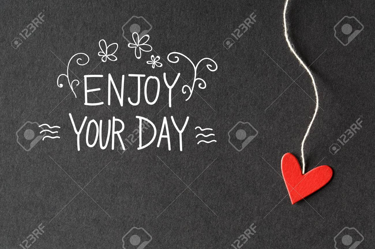 Enjoy Your Day Message With Handmade Small Paper Hearts Stock Photo    54119868