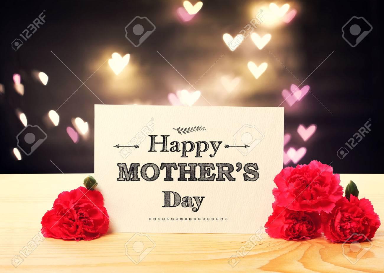 Tarjeta De Mensajes De Dia De La Madre Con Flores De Clavel Y Luces