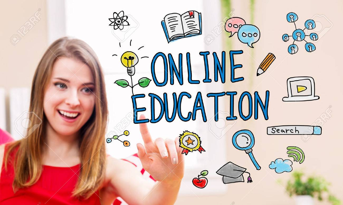 Online Education concept with young woman in her home Standard-Bild - 54662651