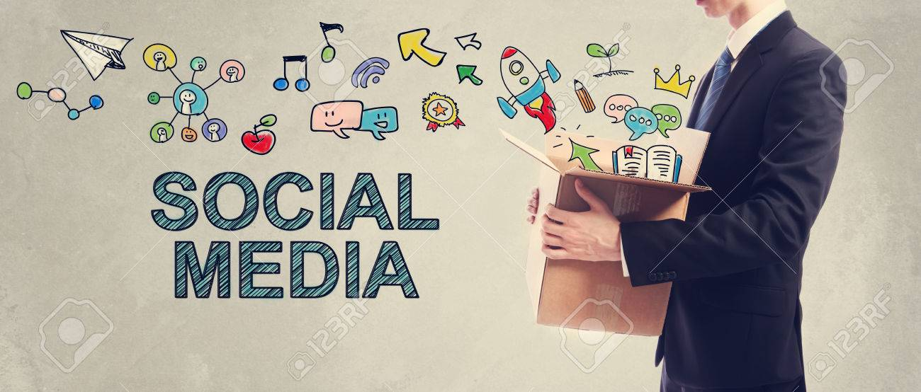 Social Media concept with businessman holding a cardboard box Standard-Bild - 56468052