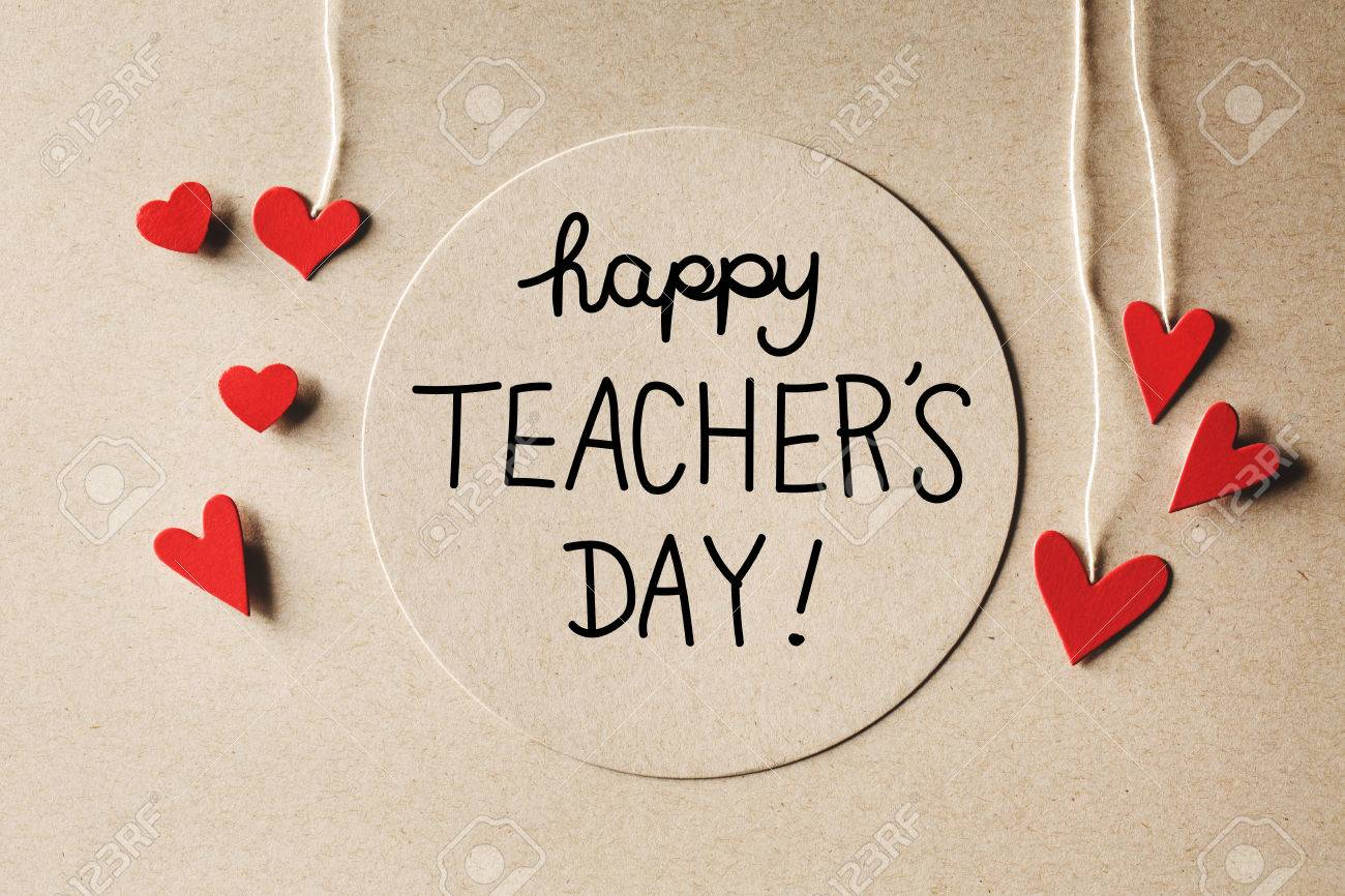 happy teachers day message with handmade small paper hearts stock photo 60901785