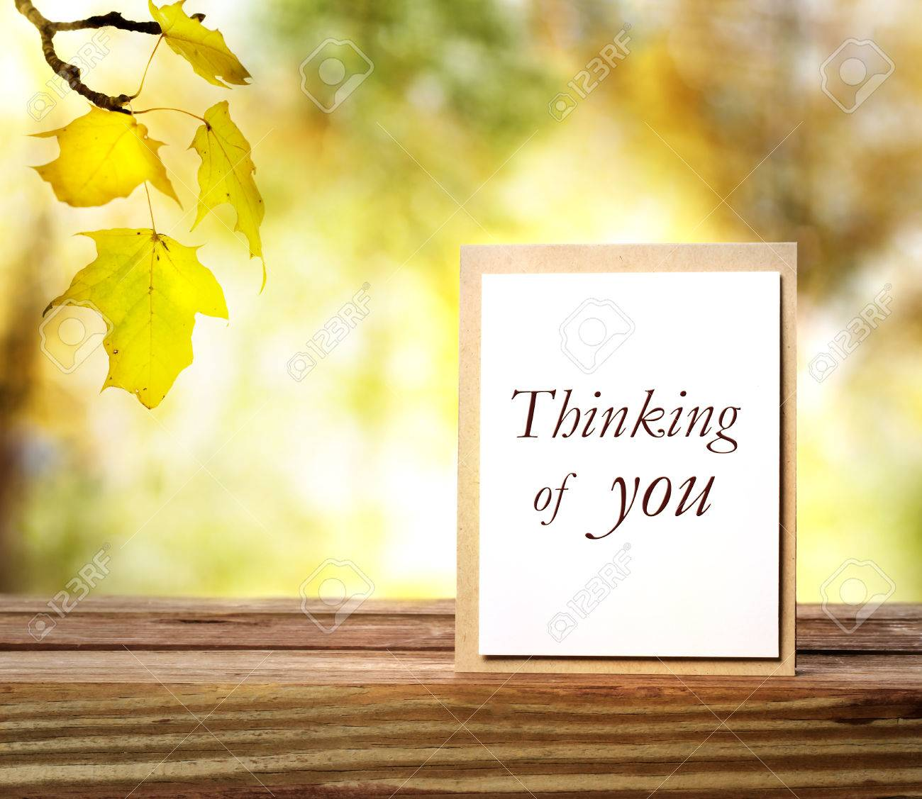 Thinking Of You Greeting Card On Autumn Leaves Background Stock