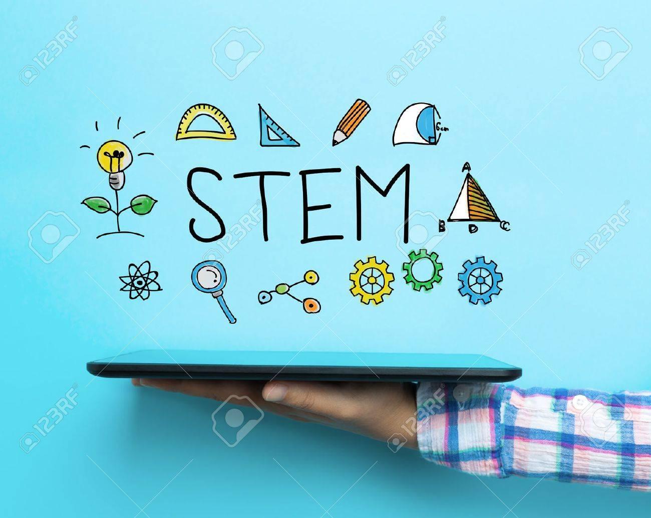 STEM concept with a tablet on blue background Standard-Bild - 63824559