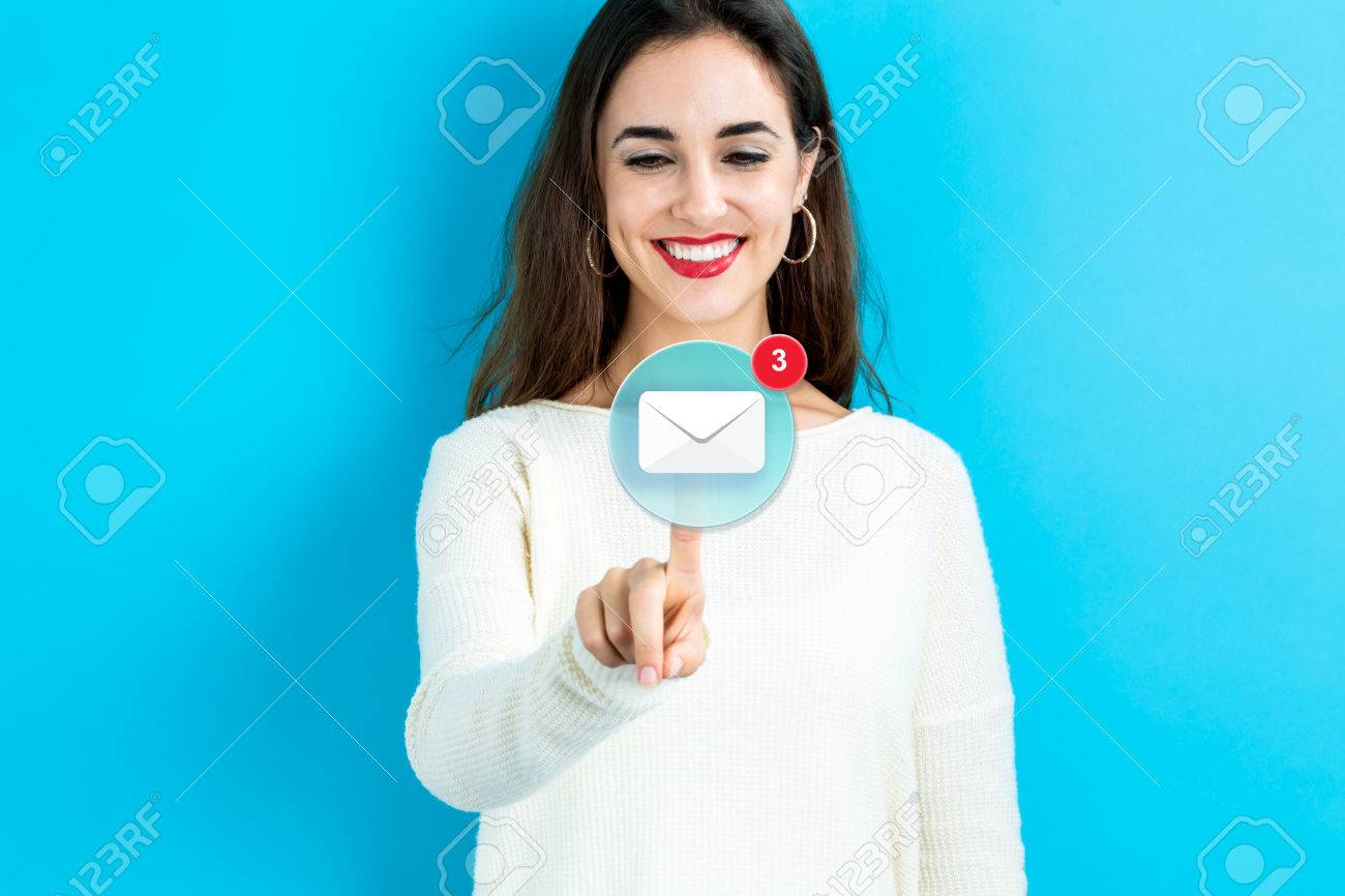 Email icon with young woman on a blue background - 64984442