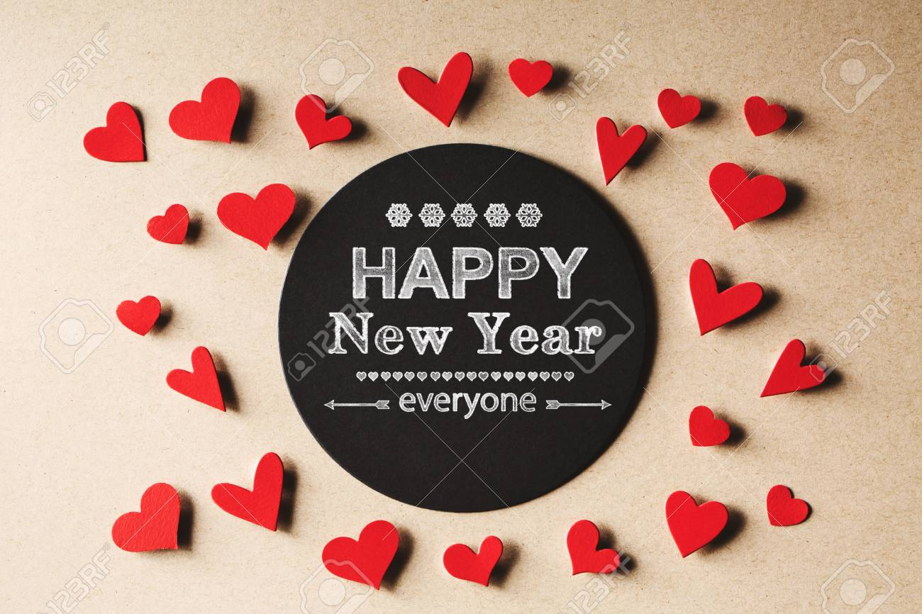 happy new year everyone message with handmade small paper hearts stock photo 66193591