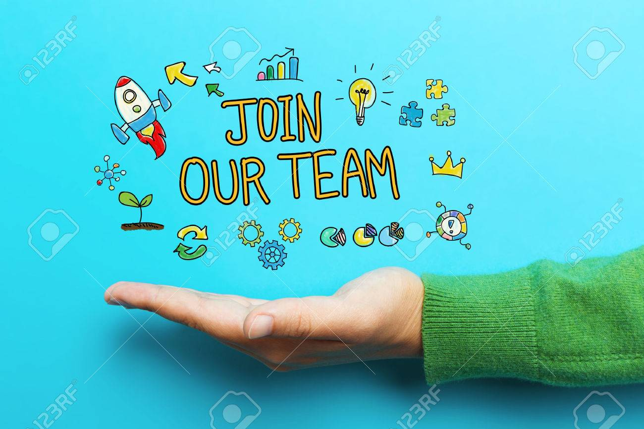 Join Our Team concept with hand on blue background Standard-Bild - 68186192