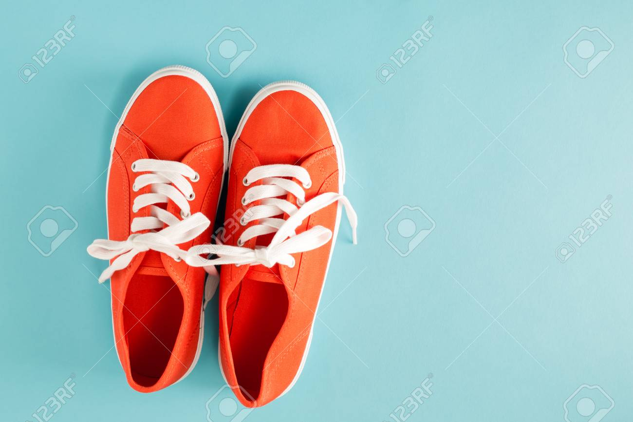 Red Shoes On A Blue Background - Top