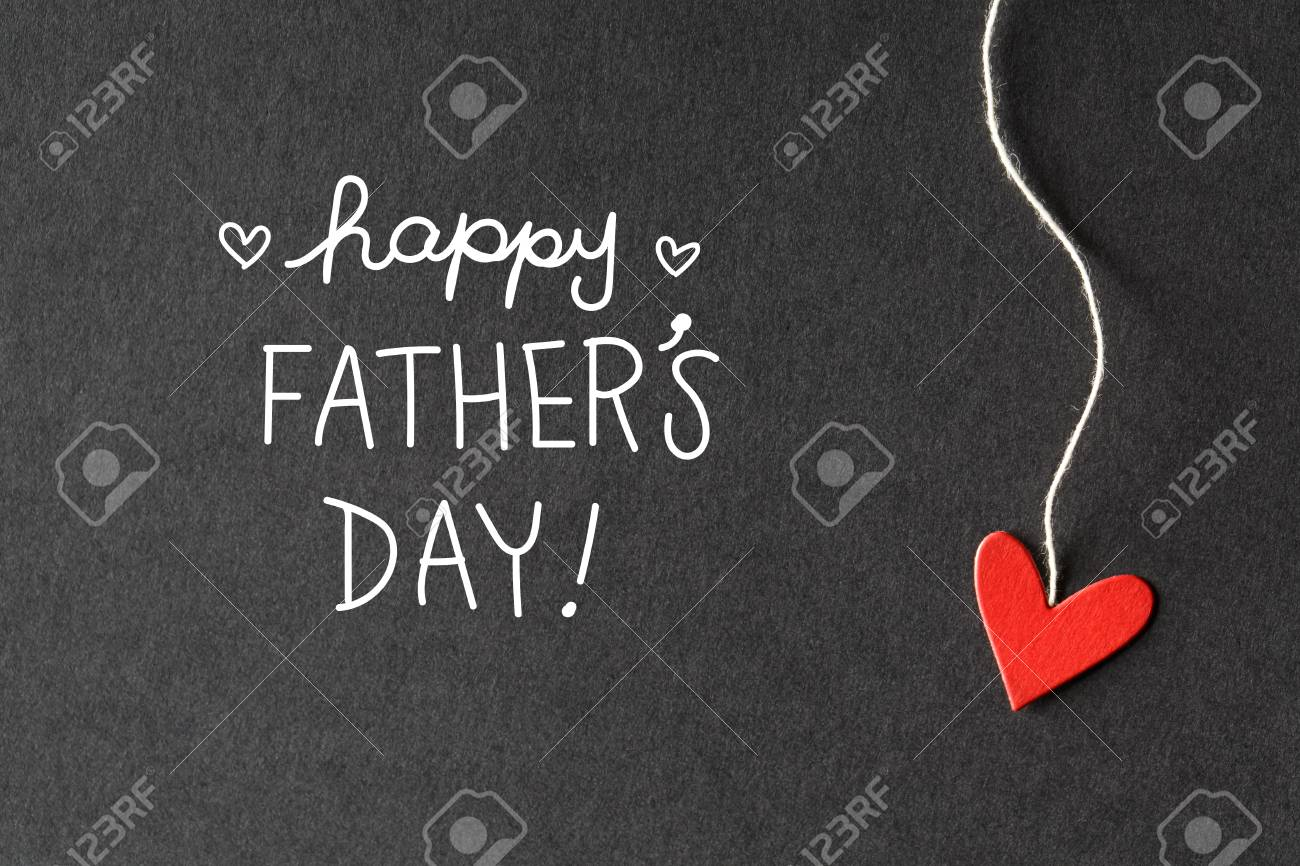 happy fathers day message with handmade small paper hearts stock photo 79963500