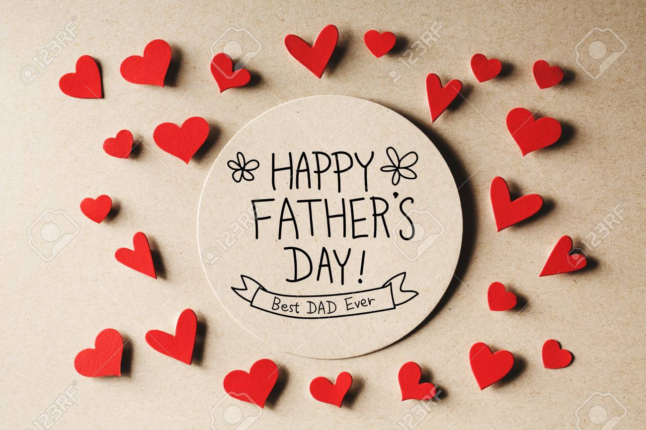 happy fathers day message with handmade small paper hearts stock photo 79918307