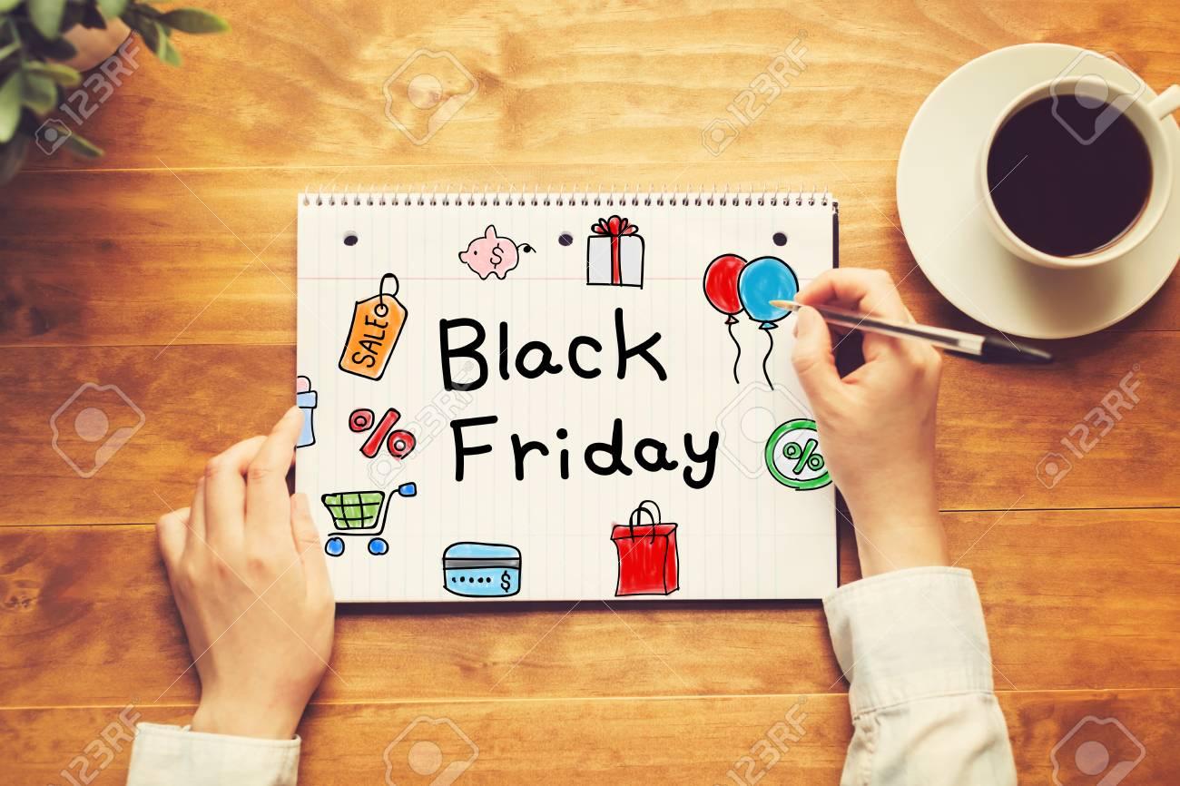 Black Friday Text Mit Einer Person Die Einen Stift Auf Einem