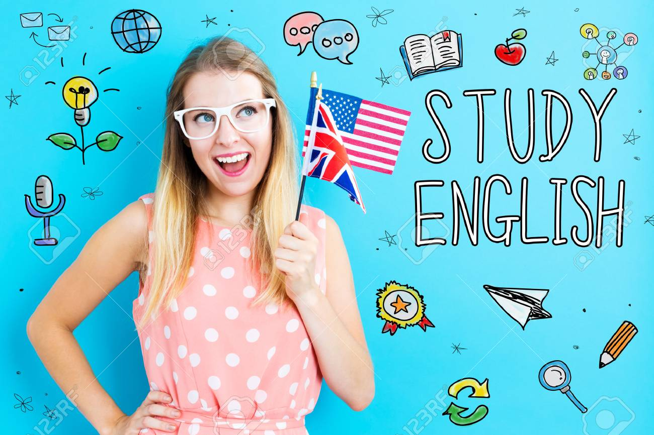 Study English theme with young woman holding flags - 94499462