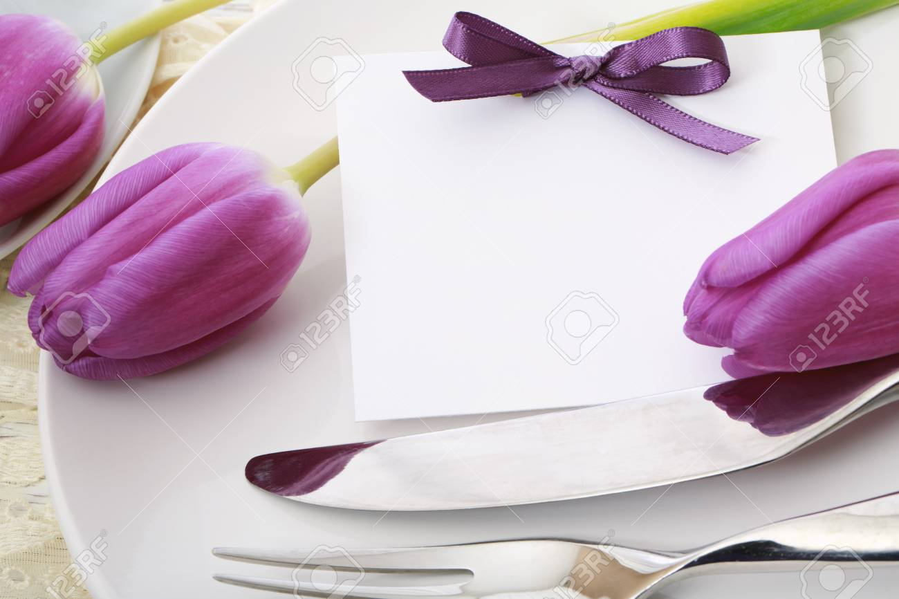 Celebration dinner theme with greeting card and dinner plate - 96554040