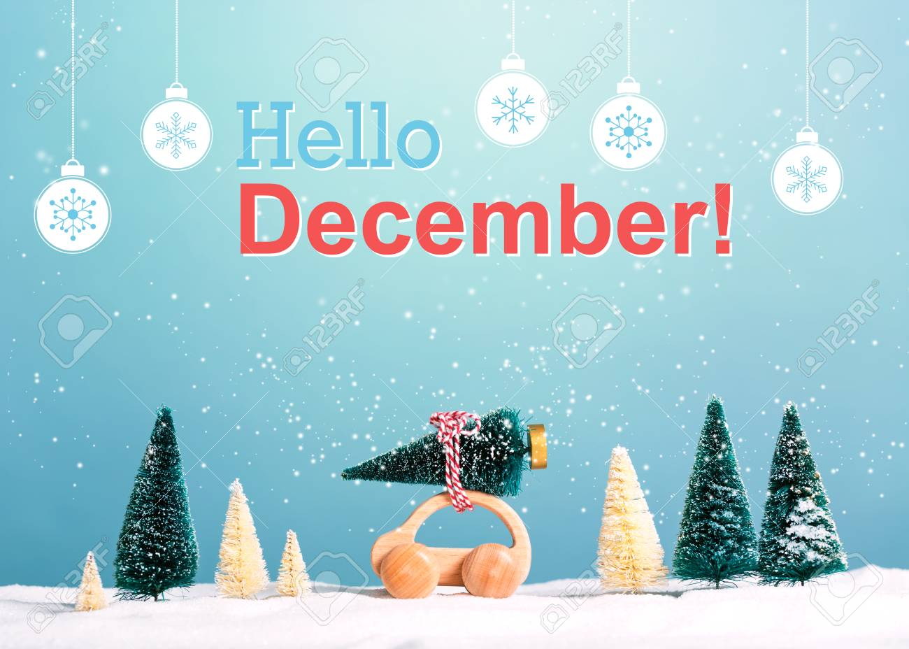 Hello December Message With Little Car Carrying A Christmas Tree ...