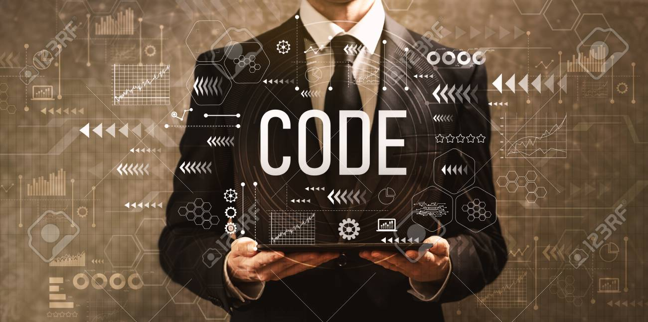 Code with businessman holding a tablet computer on a dark vintage background - 110288031