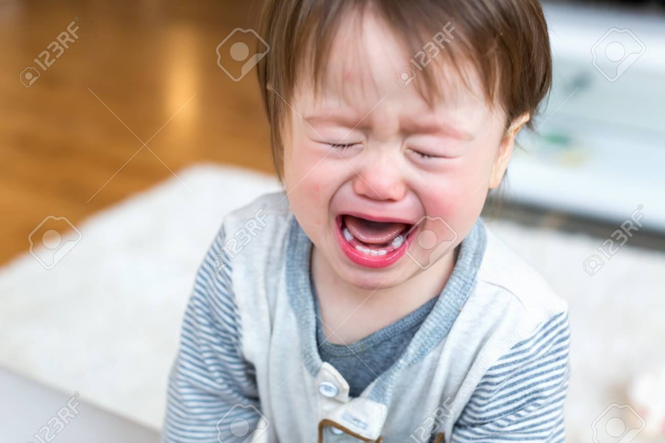 Upset toddler boy screaming and crying in his house - 110707593