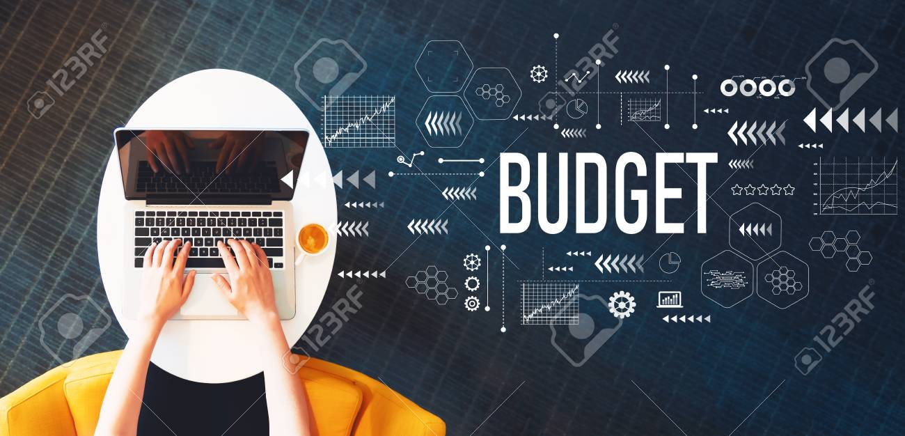 Budget with person using a laptop on a white table - 110708011