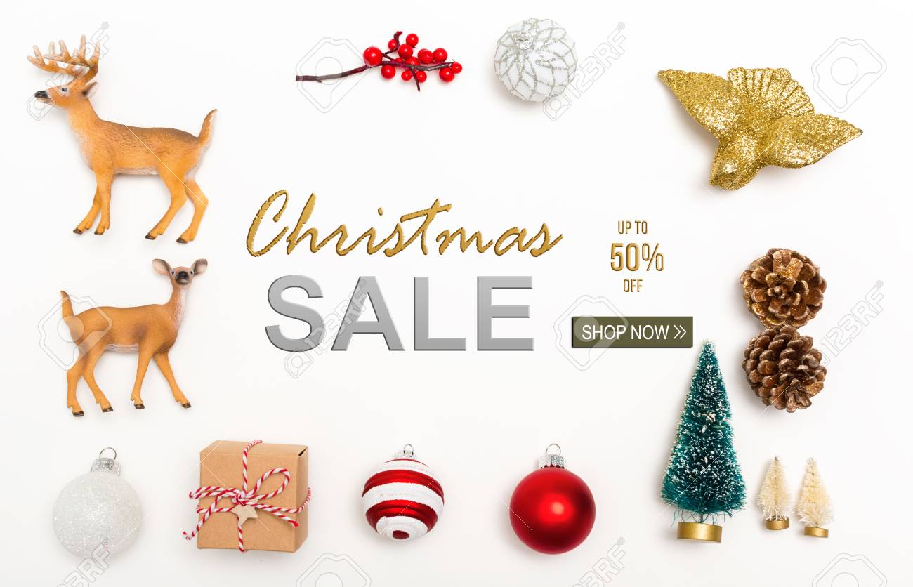 Christmas Sale Message With Small Christmas Ornaments On A White ...
