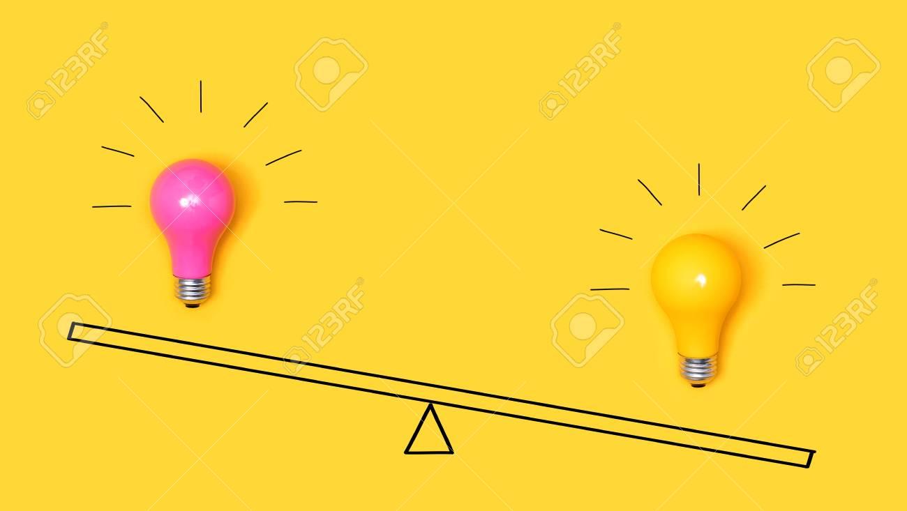 Idea light bulbs on a scale on a yellow background - 111597056