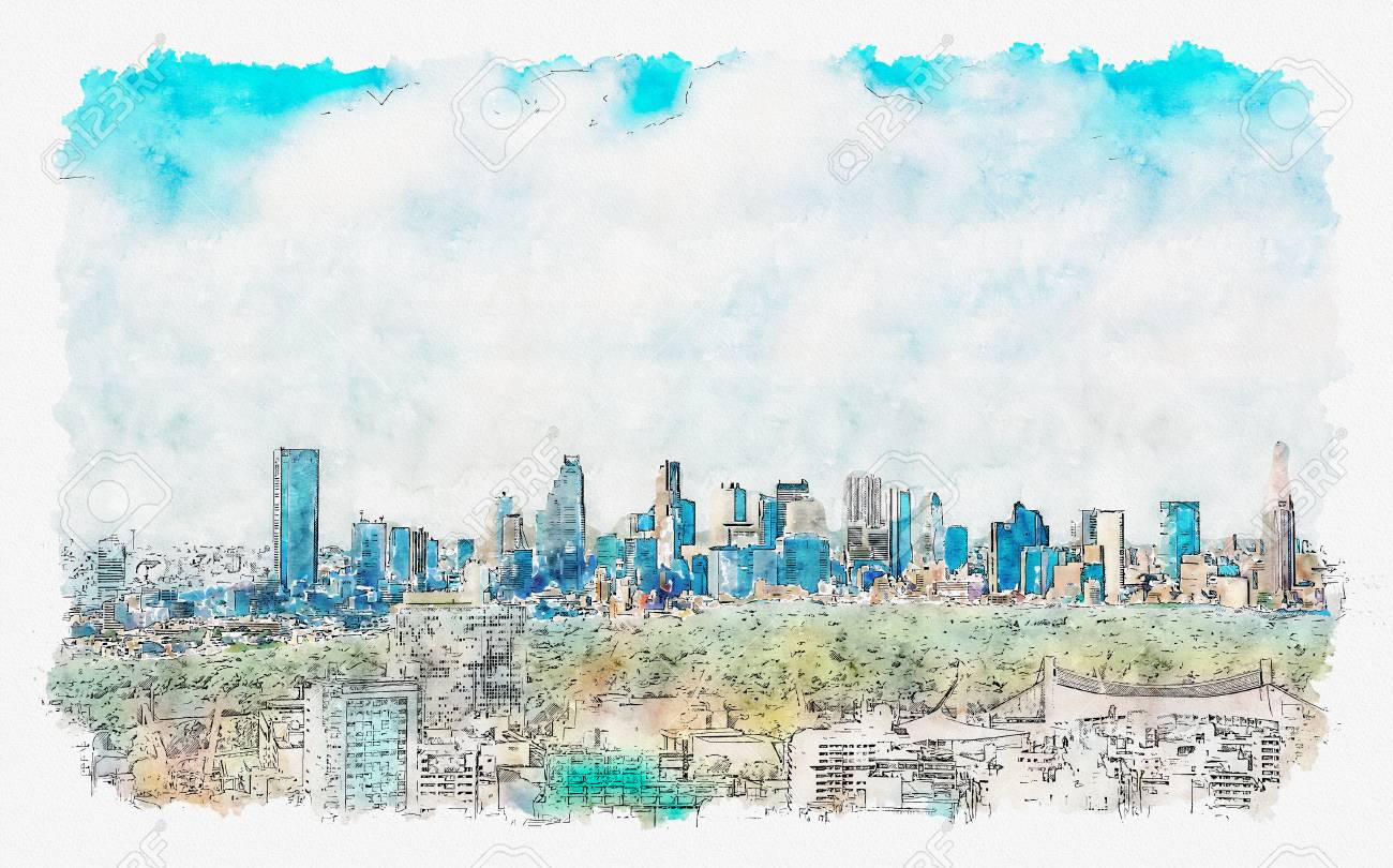 View Of The Shinjuku Skyline From Shibuya Tokyo Japan Watercolor Stock Photo Picture And Royalty Free Image Image 113092365