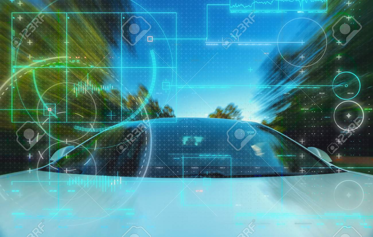Self-driving autonomous electric driverless car technology theme