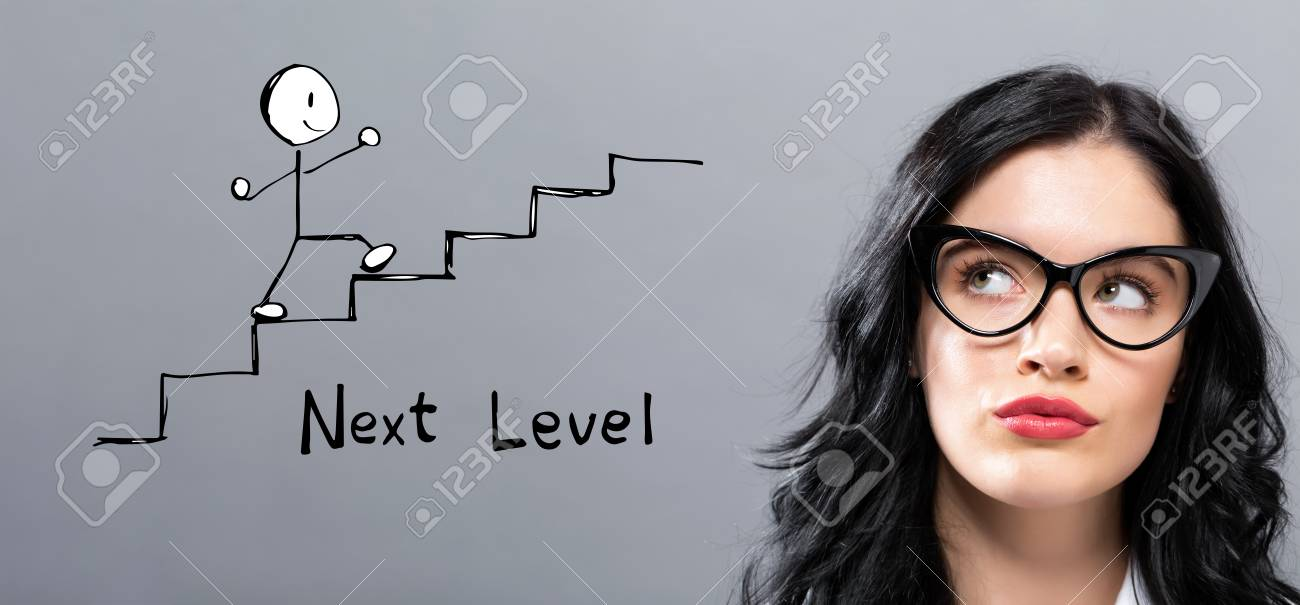 Next level concept with young businesswoman in a thoughtful face - 116208167