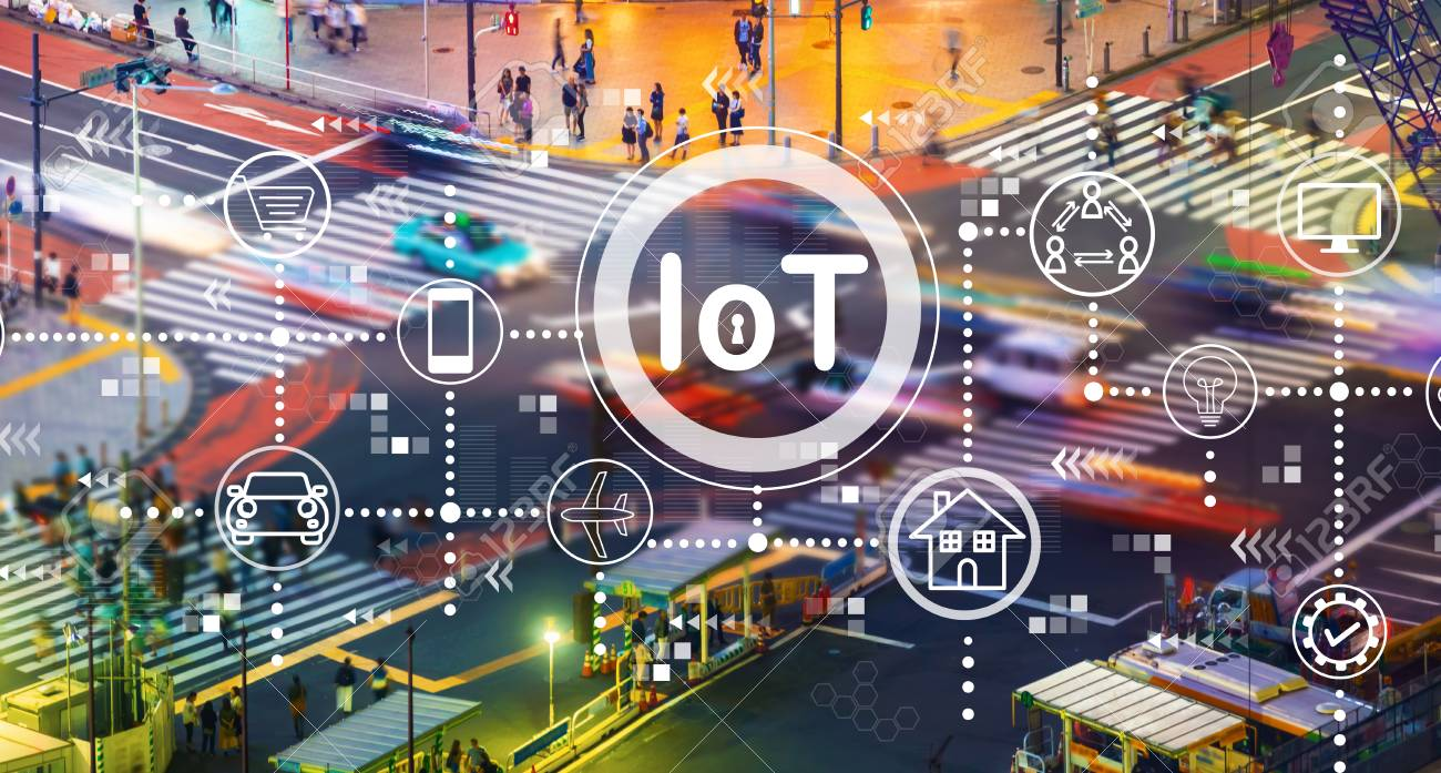 IoT theme with busy city traffic intersection - 117497315
