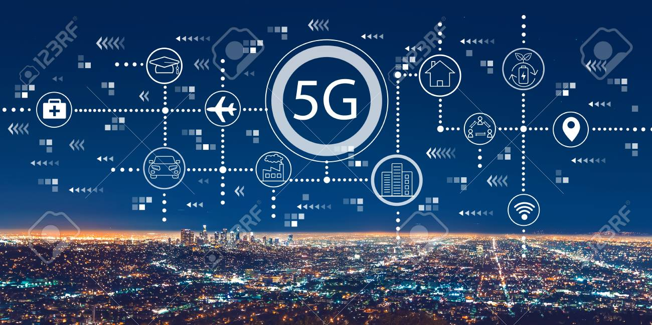 5G network with downtown Los Angeles at night - 119431622
