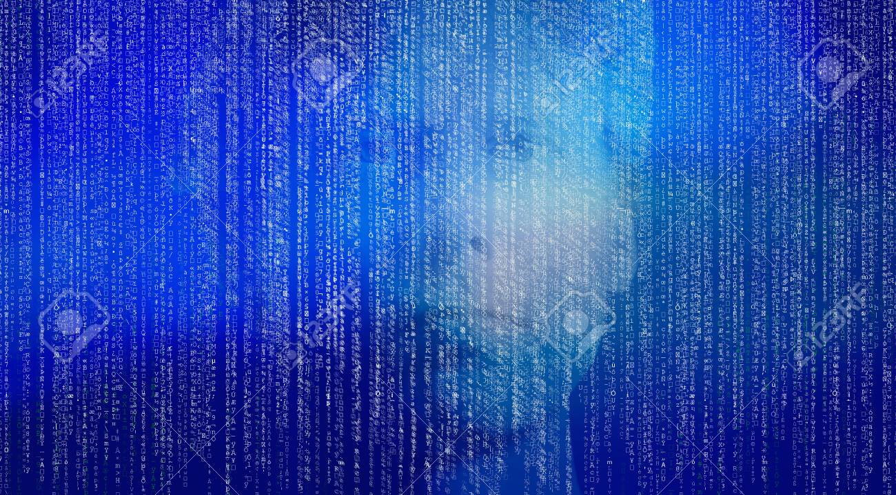 Abstract matrix digital numbers artifical intelligence ai theme with human face - 119596956
