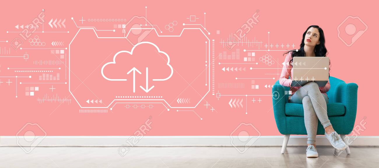 Cloud computing with young woman using a laptop computer - 120268218