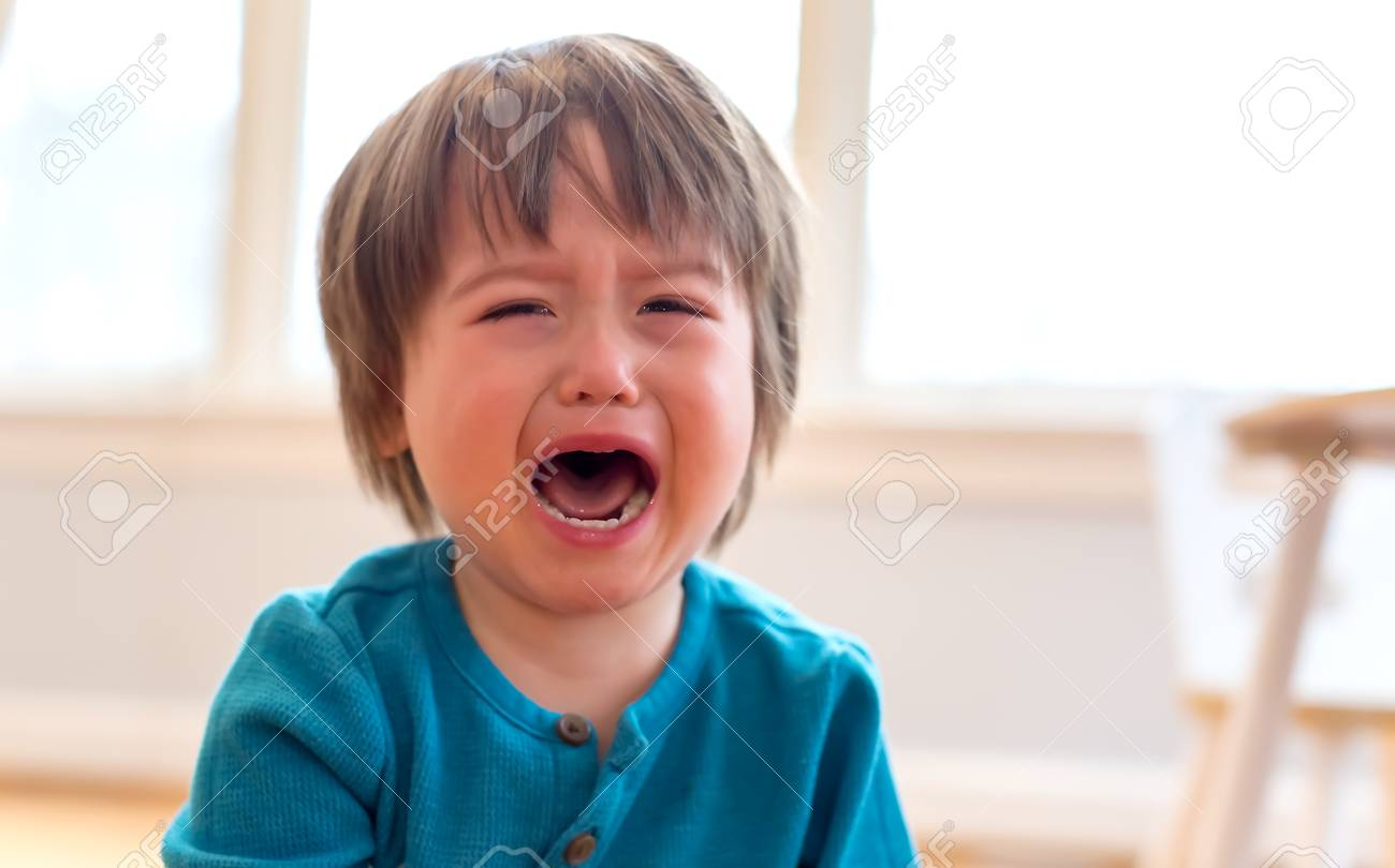 Upset crying and mad little toddler boy - 120650173