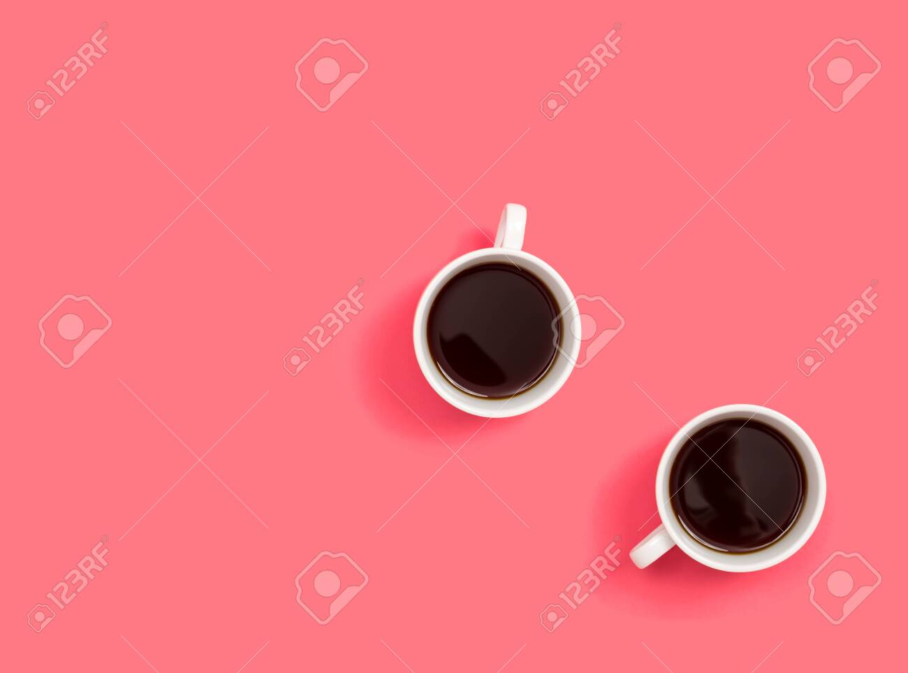 Two coffee cup overhead view flat lay - 121750045
