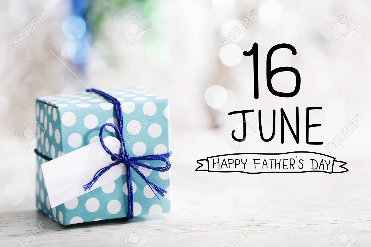 16 June Happy Fathers Day message with small handmade gift box - 122708573
