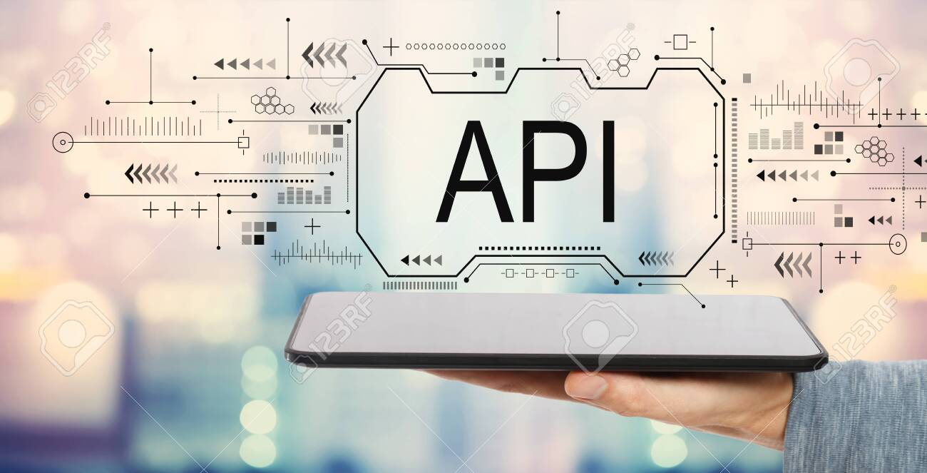 API concept with man holding a tablet computer - 122978637