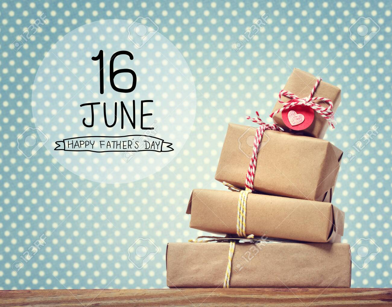 Fathers Day message with stack of gift boxes - 123497416