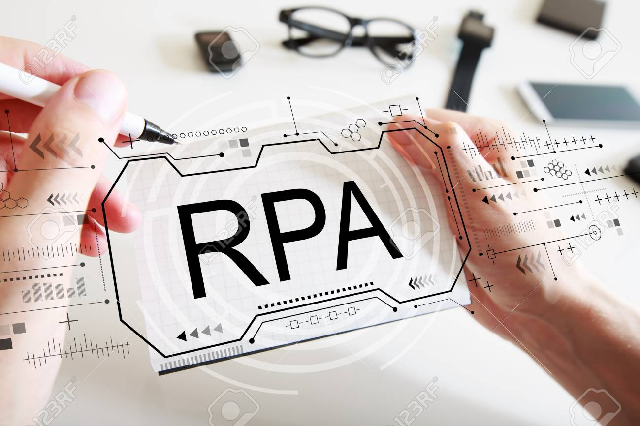 Robotic process automation concept with man writing in a notebook - 123825948