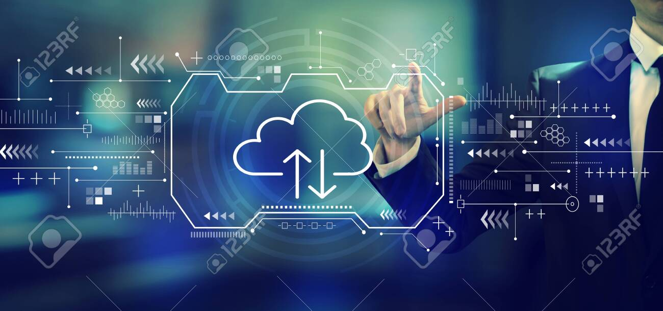 Cloud computing with a businessman in an office - 125021640