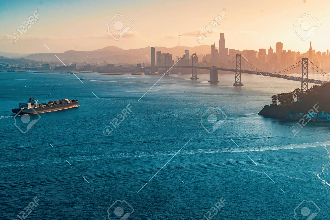 Aerial view of the Bay Bridge in San Francisco, CA - 126560616