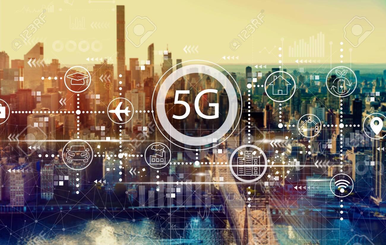 5G network with the New York City skyline near midtown - 126917041