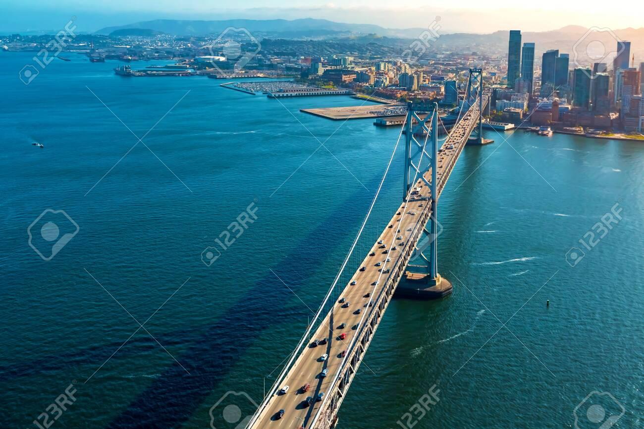 Aerial view of the Bay Bridge in San Francisco, CA - 127114174