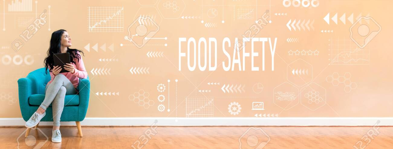 Food safety with young woman holding a tablet computer in a chair - 128758887