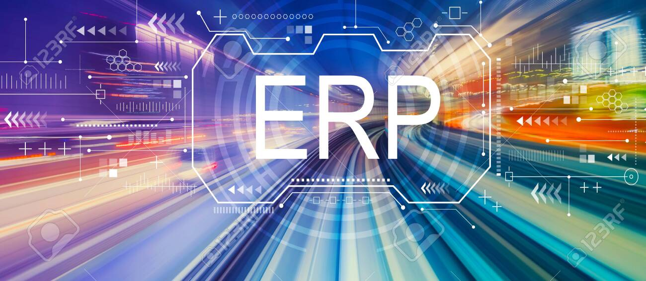 Enterprise resource planning with abstract high speed technology POV motion blur - 129098816