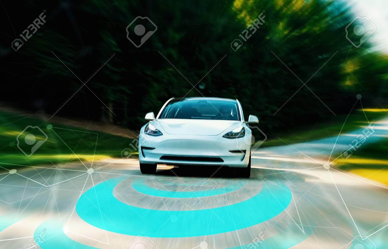 Autonomous self driving car technology concept on a rural road - 129938495