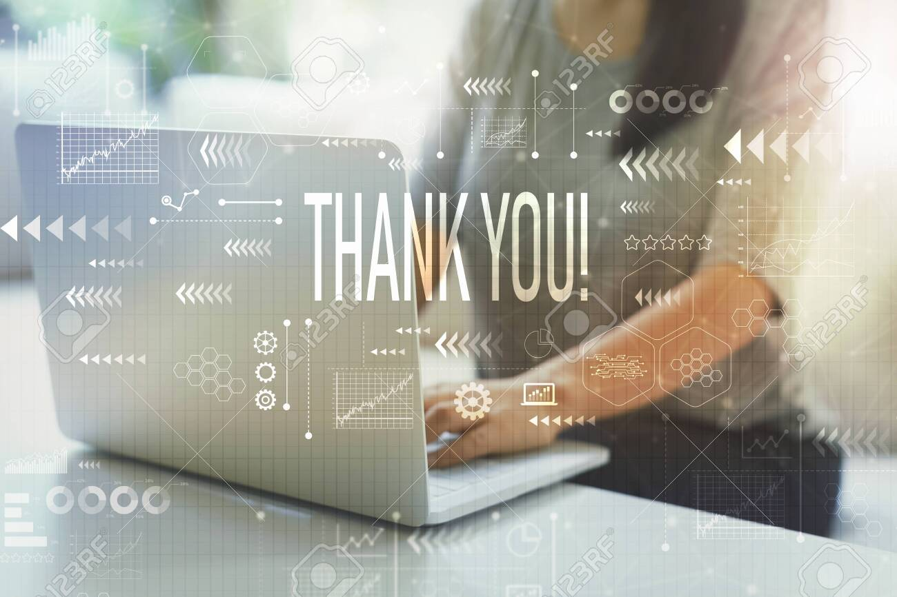 Thank you with woman using her laptop in her home office - 130832210