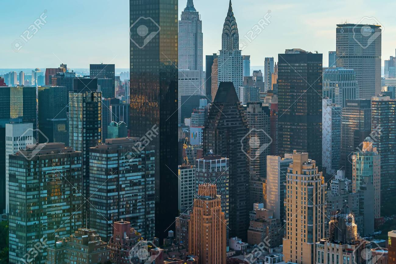 Aerial view of the skyscrapers of Midtown Manhattan New York City - 131017351