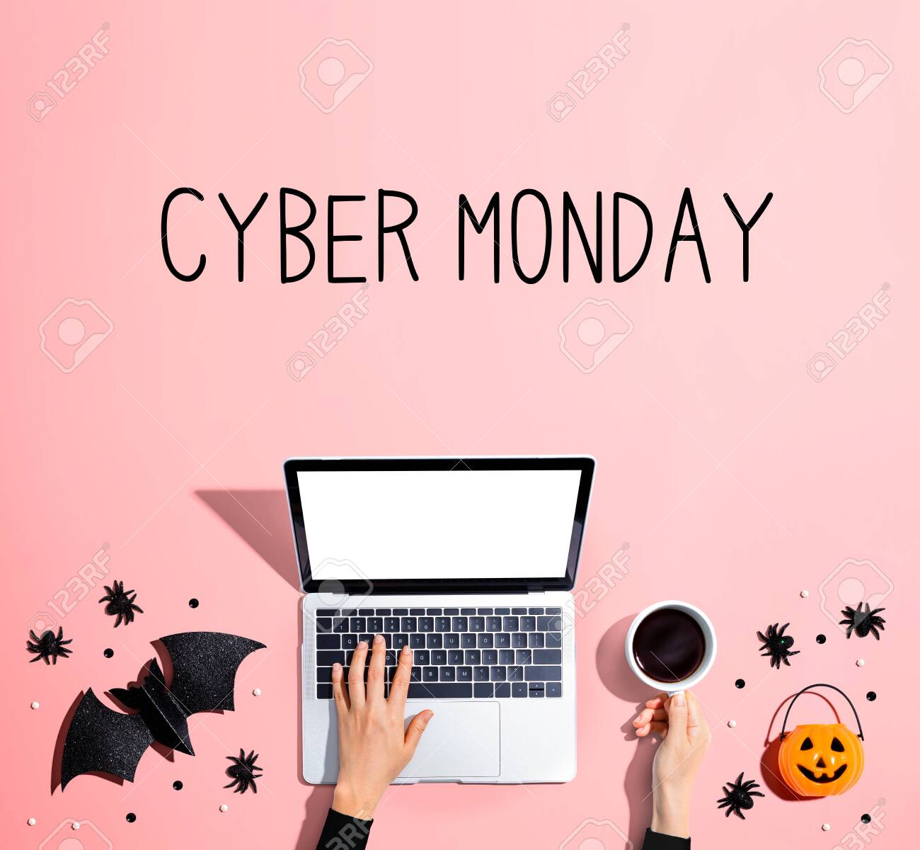 Cyber Monday banner with laptop and Halloween decorations - flat lay - 131437003