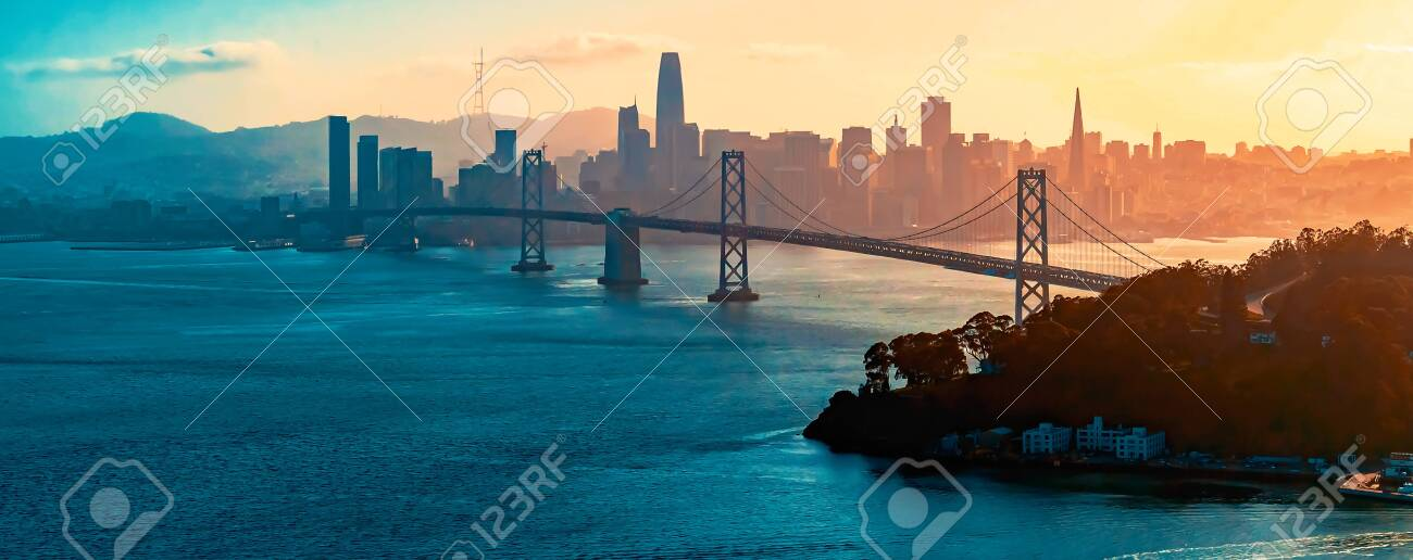 Aerial view of the Bay Bridge in San Francisco, CA - 132414303