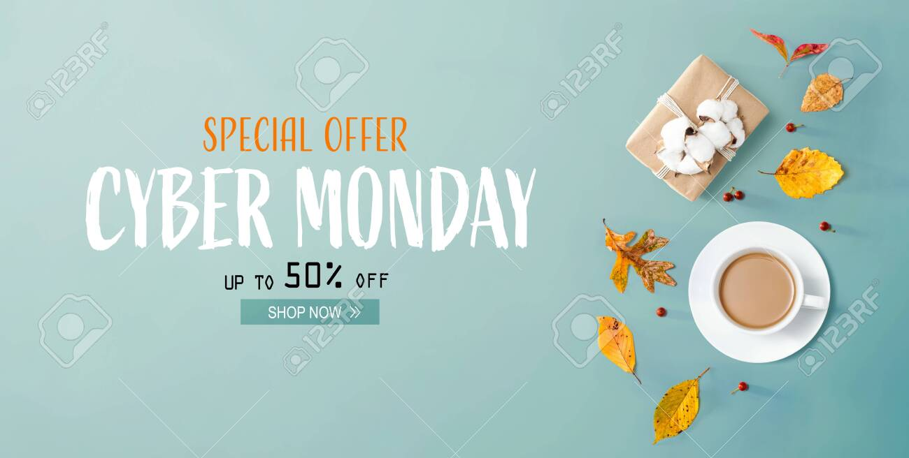Cyber Monday banner with autumn theme with coffee and gift box - 132586500