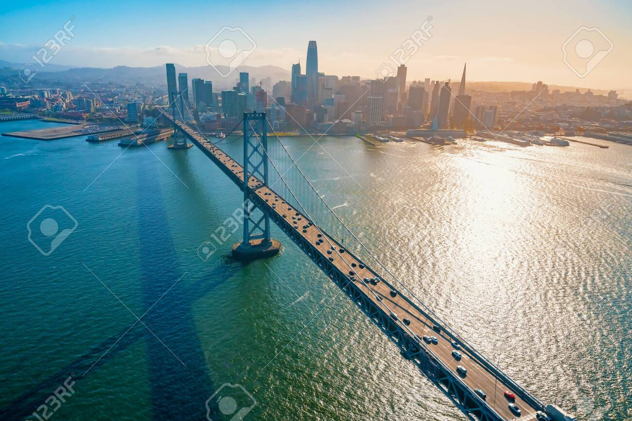 Aerial view of the Bay Bridge in San Francisco, CA - 132638054