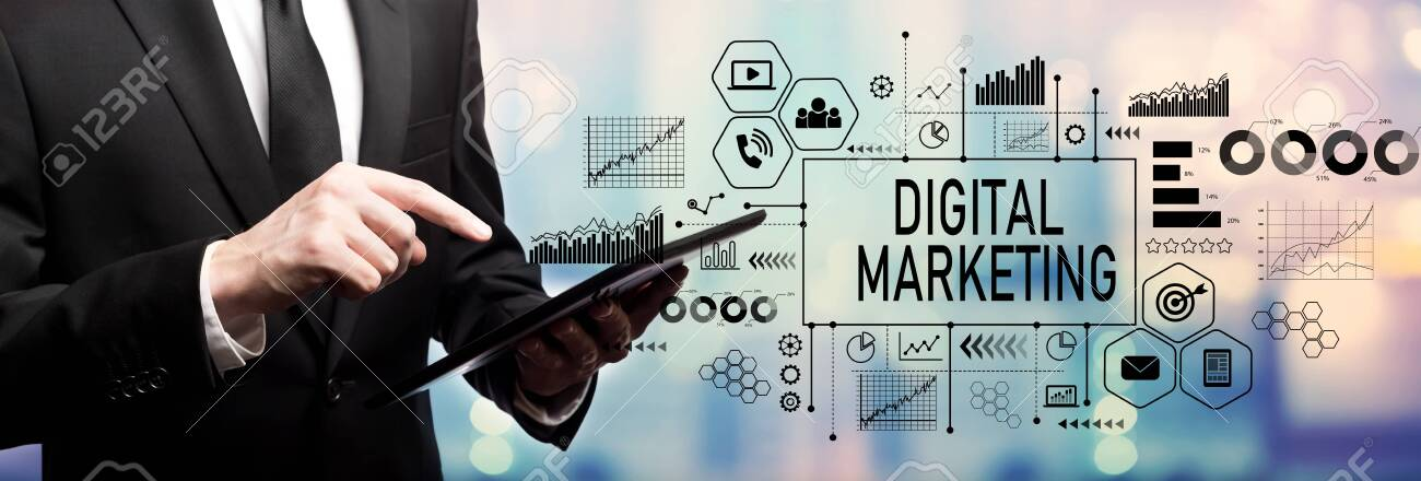 Digital marketing with businessman using his tablet computer - 132770030