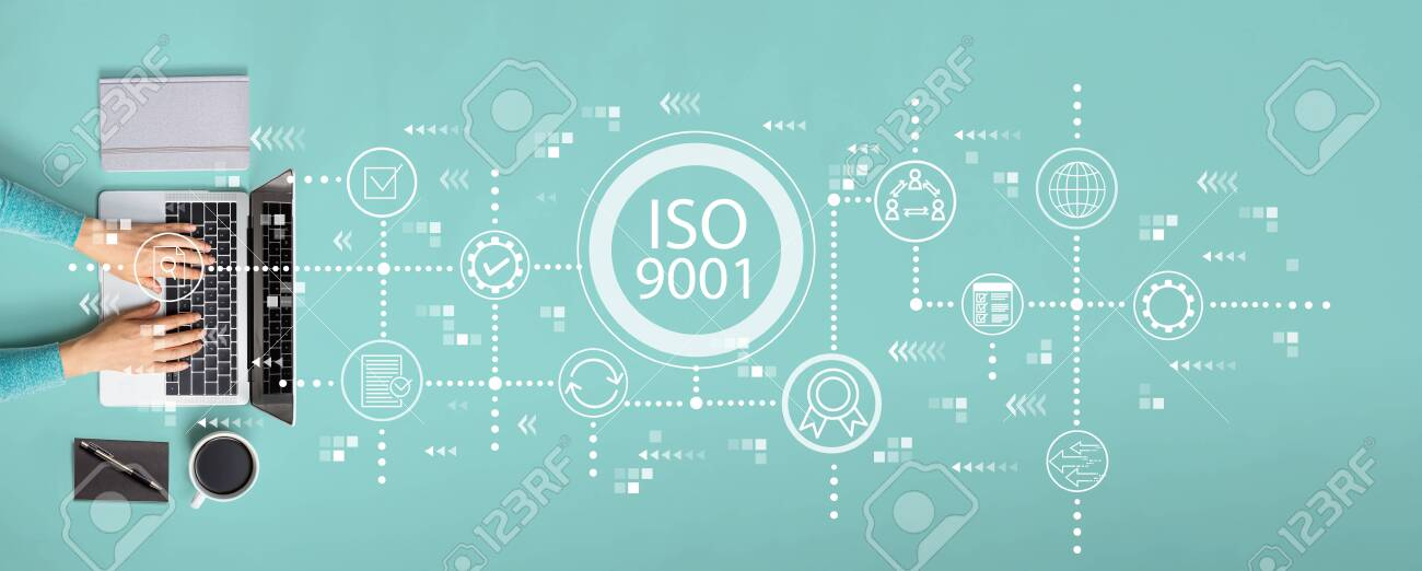 ISO 9001 concept with person using a laptop - 133676141